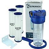 FILTROTECH Wasserfilter 10' Anschluss 1' für Hauswasserwerk GartenPumpe Vorfilter Nachfilter mit 3X...